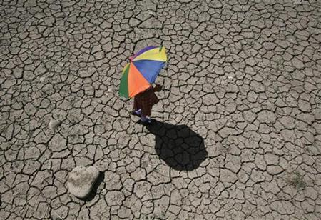 A schoolgirl crosses a dry pond on the outskirts of Jammu April 23, 2010. REUTERS/Mukesh Gupta