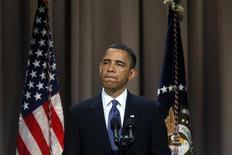 <p>Президент США выступает в колледже в Нью-Йорке 22 апреля 2010 года. Сенат США отверг самую серьезную реформу банковской системы со времен Великой депрессии из-за консолидированного протестного голосования республиканцев. REUTERS/Natalie Behring</p>