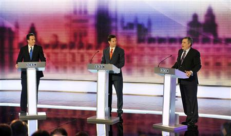Conservative Party leader David Cameron (L), Liberal Democrat leader Nick Clegg (C) and Prime Minister Gordon Brown take part in the third and final televised party leaders' debate in Birmingham April 29, 2010. REUTERS/Jeff Overs/BBC