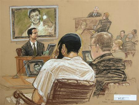 Canadian defendant Omar Khadr (C) sits with his defense team as FBI Special Agent Robert Fuller (L) testifies during a War Crimes Commission hearing on the Guantanamo Bay U.S. Naval Base, in this photo of a sketch by courtroom artist Janet Hamlin, reviewed by U.S. Department of Defense officials, taken and released on April 29, 2010. REUTERS/Janet Hamlin/Pool