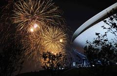 <p>Fireworks light up the Shanghai skyline during the opening ceremony for the Shanghai World Expo April 30, 2010. REUTERS/Eric Feferberg/Pool</p>