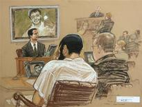<p>Canadian defendant Omar Khadr (C) sits with his defense team as FBI Special Agent Robert Fuller (L) testifies during a War Crimes Commission hearing on the Guantanamo Bay U.S. Naval Base, in this photo of a sketch by courtroom artist Janet Hamlin, reviewed by U.S. Department of Defense officials, taken and released on April 29, 2010. REUTERS/Janet Hamlin/Pool</p>