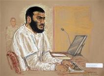 <p>A sketch by courtroom artist Janet Hamlin of defendant Omar Khadr during a hearing at the U.S. Military Commissions court for war crimes, at Guantanamo Bay, January 19, 2009. REUTERS/Janet Hamlin/Pool</p>