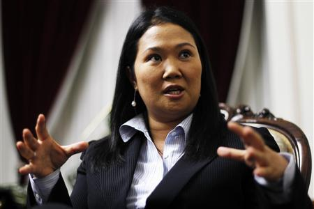 Peruvian presidential hopeful Keiko Fujimori speaks during an interview at the Reuters Latin American Investment Summit in Lima, May 5, 2010. REUTERS/Mariana Bazo