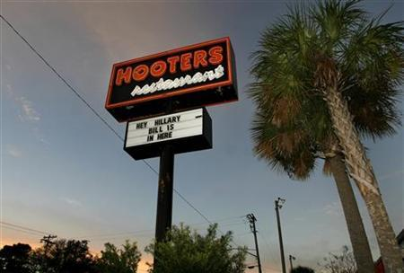 A Hooters restaurant sign referring to former President Bill Clinton and Democratic presidential candidate and US Senator Hillary Clinton (D-NY) is seen in Myrtle Beach, South Carolina January 16, 2008 file photo. REUTERS/Joshua Lott