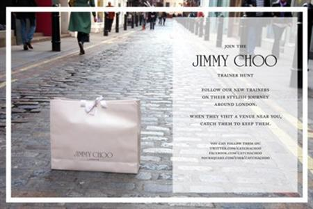 An invitation to join the Jimmy Choo trainer hunt. Shoe lovers in London have been glued to their mobile devices and computer screens in a race to win a pair of free Jimmy Choos. REUTERS/Jimmy Choo trainers