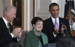 <p>President Barack Obama and Vice President Joe Biden applaud beside nominee for Supreme Court Justice Solicitor General Elena Kagan in the East Room at the White House in Washington May 10, 2010. REUTERS/Jim Young</p>