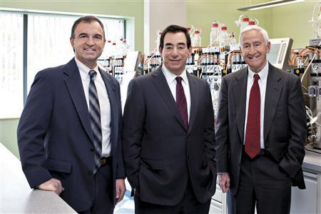 Regeneron Pharmaceuticals Inc's Head of Research George Yancopoulos, Chief Executive Leonard Schleifer and Chairman of the Board of Directors Roy Vagelos (L-R) pose for a picture at the company's laboratories in Tarrytown, New York, in this undated handout photo made available May 12, 2010. REUTERS/Handout