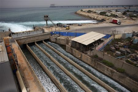Brine water flows into the Mediterranean Sea after passing through a desalination plant in the coastal city of Hadera May 16, 2010. REUTERS/Nir Elias