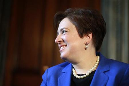 U.S. Solicitor General and Supreme Court Nominee Elena Kagan smiles as she begins her day-long tour of Captiol Hill at the office of U.S. Senate Majority Leader Harry Reid (D-NV) on Capitol Hill in Washington May 12, 2010. REUTERS/Jason Reed