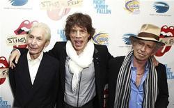 """<p>Charles Watts, Mick Jagger e Keith Richards foram à pré-estréia do documentário """"Stones in Exile"""" em Nova York. 11/05/2010 REUTERS/Lucas Jackson</p>"""