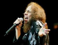 <p>Rocker Ronnie James Dio sings at the Aladdin Theatre for the Performing Arts in Las Vegas during the kickoff of his tour May 31, 2002. REUTERS/Ethan Miller</p>