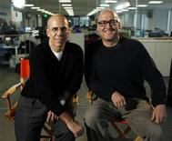 "<p>Jeffrey Katzenberg (L), CEO of Dreamworks Animation, and Mike Mitchell, director of ""Shrek Forever After"", pose for Reuters in Los Angeles, May 10, 2010. REUTERS/Mario Anzuoni</p>"