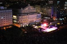 <p>An aerial view of Argentina's famed Teatro Colon, one of the world's great opera houses, during the reopening ceremony in Buenos Aires May 24, 2010. REUTERS/Martin Acosta</p>