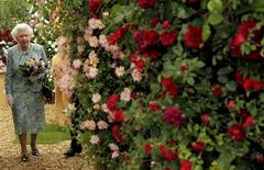 <p>Britain's Queen Elizabeth walks through a garden during her visit to the Chelsea Flower Show in London May 24, 2010. REUTERS/Matt Dunham/Pool</p>