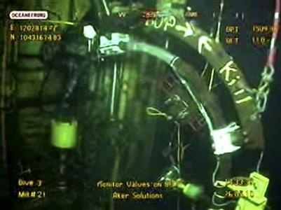A frame grab, taken from a BP live video feed, shows machinery being used in the ''top kill'' procedure to stop the flow of oil from the Gulf of Mexico oil well May 26, 2010. Reuters/Handout