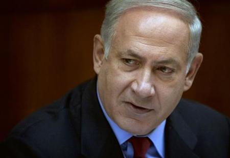 Israel's Prime Minister Benjamin Netanyahu attends the weekly cabinet meeting in his office in Jerusalem May 23, 2010. REUTERS/Sebastian Scheiner/Pool