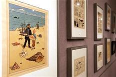 <p>O leilão de sábado incluiu 230 objetos relativos ao personagem Tintin, criado pelo cartunista belga Hergé. 28/05/2010 REUTERS/Jacky Naegelen</p>