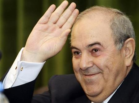Iyad Allawi, former Iraqi prime minister and head of the secular Iraqiya coalition, waves at a news conference in Baghdad May 10, 2010. REUTERS/Mohammed Ameen
