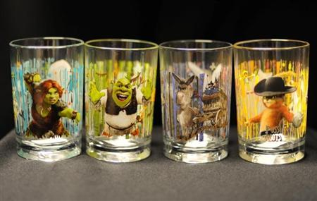 Recalled Shrek-theme drinking glasses from McDonald's in a photo from the Consumer Product Safety Commission. REUTERS/CPSC/Handout