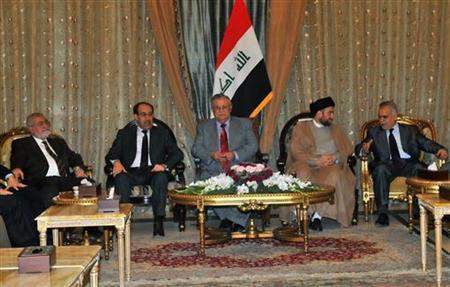 Iraq's President Jalal Talabani (C) meets with Iraqi politicians, including Prime Minister Nuri al-Maliki (2nd L), in Baghdad May 20, 2010. REUTERS/Iraqi Government/Handout