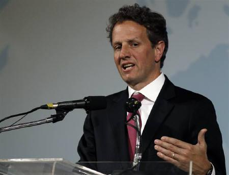 U.S. Treasury Secretary Timothy Geithner speaks during a news conference at the G20 Finance Ministers and Central Bank Governors meeting in Busan June 5, 2010. REUTERS/Nicky Loh/Files