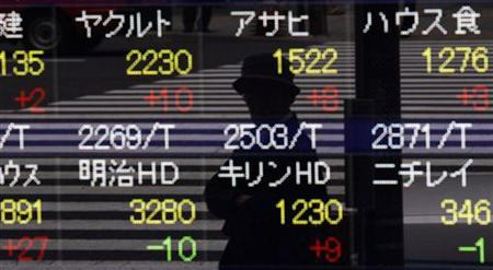 A pedestrian is reflected in a stock index board outside a brokerage house in Tokyo May 28, 2010. REUTERS/Kim Kyung-Hoon