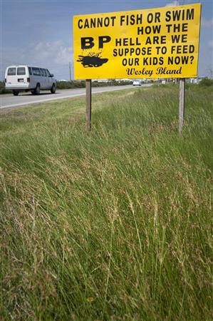 A roadside sign protesting against British Petroleum (BP) and the Deepwater Horizon oil spill is seen in Elmer's Island, Louisiana June 11, 2010. REUTERS/Lee Celano