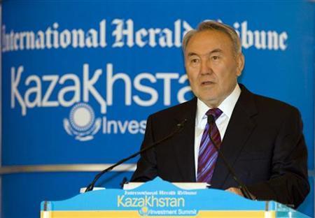 Kazakhstan's President Nursultan Nazarbayev speaks at the opening of the Kazakhstan Investment Summit in Almaty June 3, 2010. REUTERS/Shamil Zhumatov