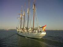 <p>The 370-foot Spanish tall ship, the Juan Sebastian De Elcano, arrived in Boston Harbor sails-down Jun 15, 2010 as part of a seven-month naval training and good-will mission. REUTERS/Lauren Keiper</p>