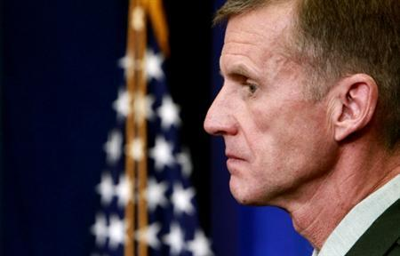 U.S. Army General Stanley McChrystal, the commander of U.S. and NATO forces in Afghanistan, listens to a question from a reporters in the briefing room of the White House in Washington in this May 10, 2010 file photo. REUTERS/Kevin Lamarque/Files