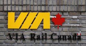 <p>A VIA Rail logo is pictured at the Gare du Palais train station in Quebec City in this June 9, 2010 file photo. REUTERS/Mathieu Belanger</p>