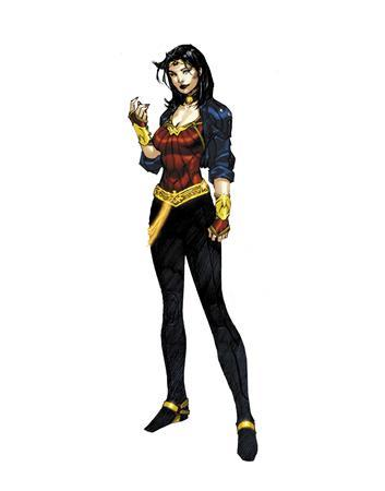 The re-imagined comic book heroine Wonder Woman is shown in this undated publicity photo released to Reuters June 30, 2010. The DC Comics Comic book super heroine has traded in her spangled hot pants for urban leggings and upped her street smarts in a 21st century make-over for the 69 year-old character. REUTERS/DC Comics/Handout