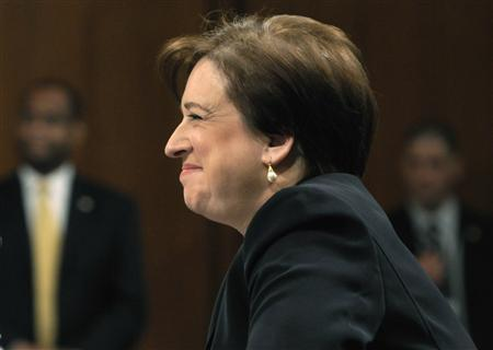 Supreme Court nominee Elena Kagan smiles during testimony on the third day of her Senate confirmation hearings in front of the Senate Judiciary Committee on Capitol Hill in Washington, June 30, 2010. REUTERS/Jonathan Ernst