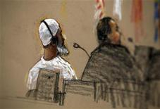 <p>In this photo of a sketch by courtroom artist Janet Hamlin, reviewed by the U.S. military, defendant Ibrahim al-Qosi (L) sits with a member of his defense team inside the courthouse for the U.S. war crimes commission, at the Camp Justice compound, at Guantanamo Bay U.S. Naval Base, Cuba, July 15, 2009. REUTERS/Janet Hamlin/Pool</p>