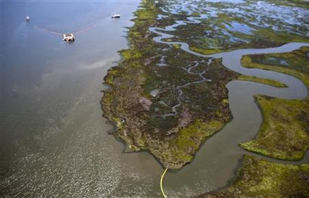 Crew aboard a collection vessel and work boat attempt to capture oil from the Deepwater Horizon in a major waterway leading to Lake Pontchartrain near Slidell, Louisiana July 8, 2010. REUTERS/Lee Celano