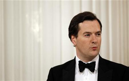 Chancellor George Osborne speaks at the Lord Mayor's dinner to the Bankers and Merchants of the City of London at Mansion House in London June 16, 2010. REUTERS/Suzanne Plunkett