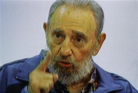 Former Cuban leader Fidel Castro speaks on Cuban television July 12, 2010. REUTERS/Cuban Television