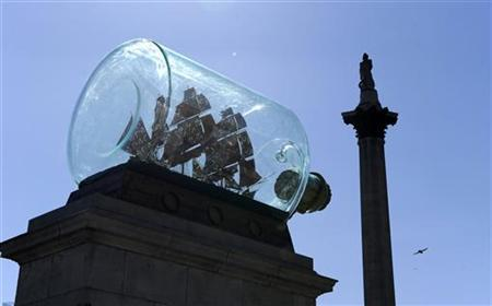 Yinka Shonibare 's installation ''Nelson's Ship in a Bottle'' sits on the Fourth Plinth after being unveiled in Trafalgar Square, in central London May 24, 2010. REUTERS/Paul Hackett