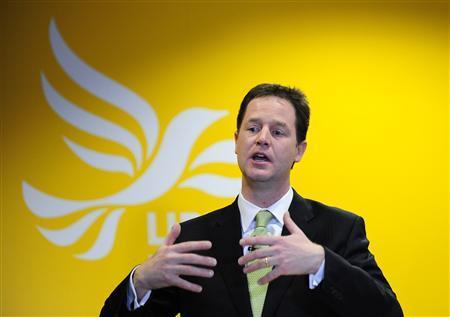 Liberal Democrat leader Nick Clegg answers questions at an election campaign news conference at the party headquarters in central London April 20, 2010. REUTERS/Toby Melville