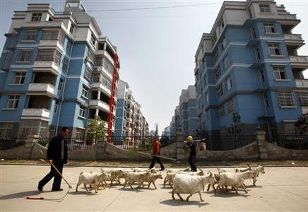 Construction workers walk past a farmer leading his goat herd past newly constructed residential buildings in the town of Gushi in Henan Province, March 28, 2010. REUTERS/David Gray