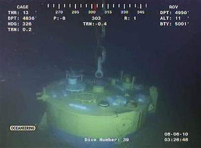 A screen grab of the MC252 well is captured from a BP live video feed from the Gulf of Mexico, August 6, 2010. REUTERS/BP/Handout