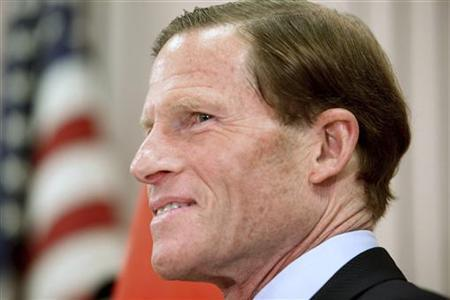 Connecticut's State Attorney General and Senate candidate Richard Blumenthal speaks to reporters at a Veterans of Foreign Wars post in West Hartford, Connecticut, May 18, 2010. REUTERS/Michelle McLoughlin