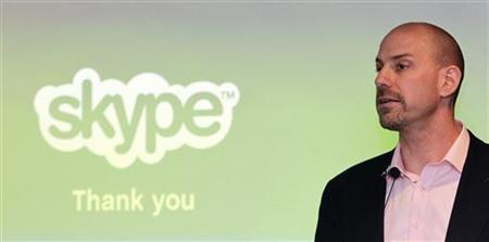 Skype CEO Josh Silverman speaks at a news conference during his first official visit in Taipei in this June 23, 2010 file photo. REUTERS/Pichi Chuang