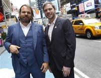 <p>Chefs Frank Falcinelli and Frank Castronovo (L) pose at Times Square in New York, May August 5, 2010. REUTERS/Shannon Stapleton</p>