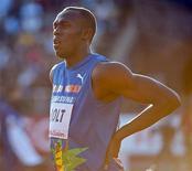<p>O jamaicano Usain Bolt durante a etapa de Estocolmo da Liga Diamante. O atual recordista mundial dos 100 metros rasos não irá competir novamente nesta temporada devido a uma lesão na coluna. 06/08/2010 REUTERS/Maja Suslin</p>