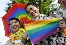 <p>Participants march at the Tokyo Pride Parade in Tokyo August 11, 2007. REUTERS/Toru Hanai</p>
