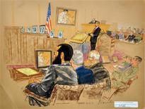 <p>Canadian detainee Omar Khadr attends his war crimes trial, in this courtroom sketch taken and released on August 12, 2010. REUTERS/Janet Hamlin/Pool</p>