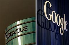 <p>Oracle a engagé jeudi des poursuites judiciaires contre Google, estimant que le géant de l'internet avait enfreint les brevets protégeant son procédé Java dans le cadre du développement de son système d'exploitation mobile Android. /Photos d'archives/REUTERS/Robert Galbraith</p>
