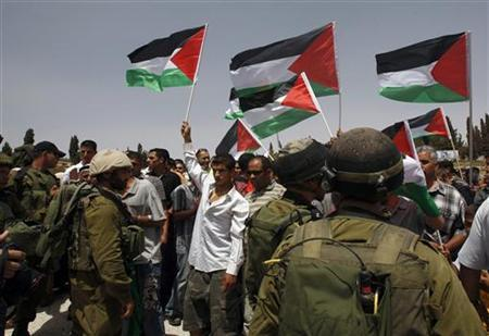 Palestinian protesters hold up flags in front of Israeli soldiers during a protest in the village of Bet In near Ramallah June 11, 2010. REUTERS/Mohamad Torokman